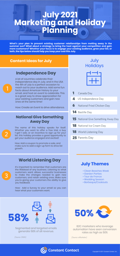 Constant Contact July 2021 Holiday Marketing Calendar