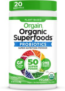 orgain organic green superfoods powder probiotic vegan gluten free